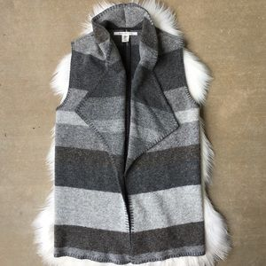 Max Studio Wool Waterfall Vest Jacket Gray Gray M